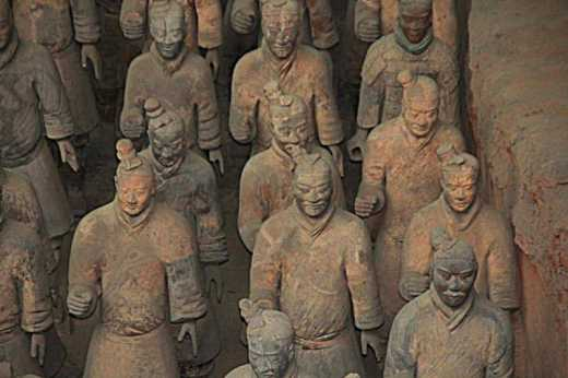 Close-up of terra-cotta warriors.