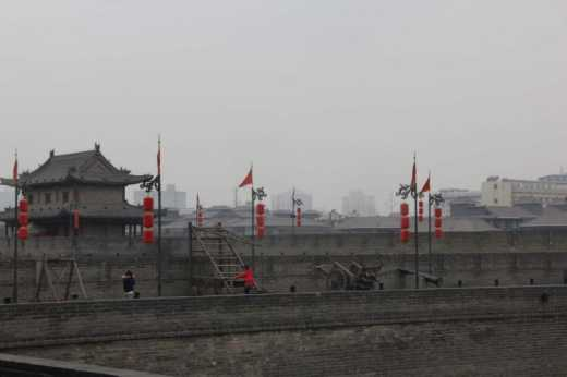 Armaments on the Xi'an city wall.