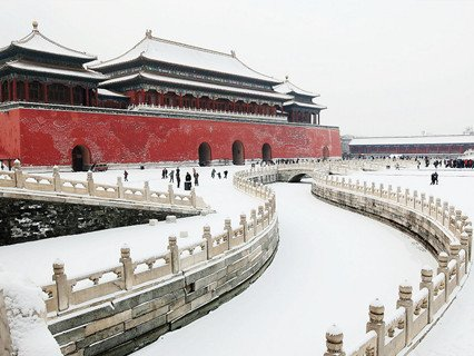 Forbidden City in Snowy Winter