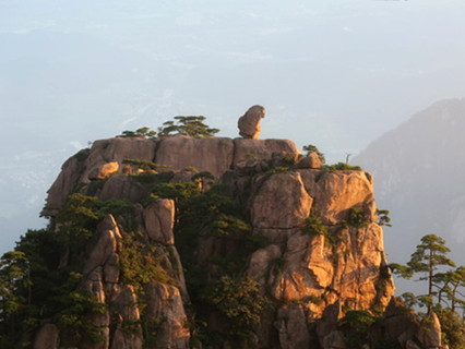 Stone Monkey Watching the Cloud Sea at Mt.Huangshan