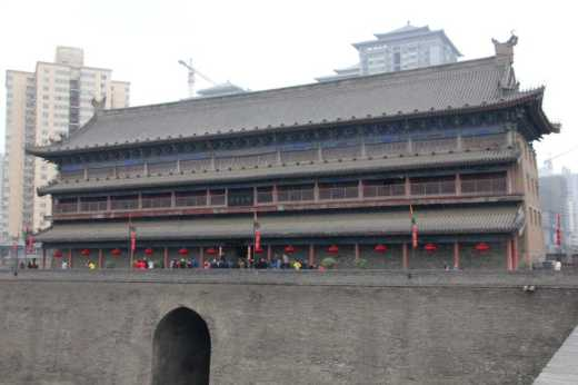 Entrance gate to the city wall in Xi'an.
