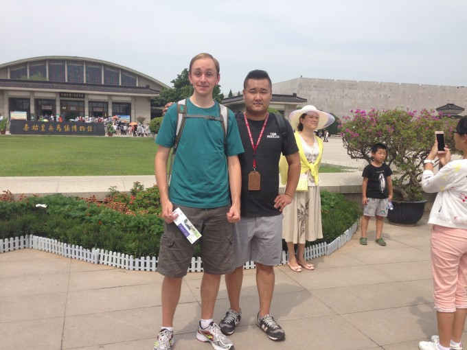 Standing in front of the Terra-cota Warriors site with my guide. Such a great guy!
