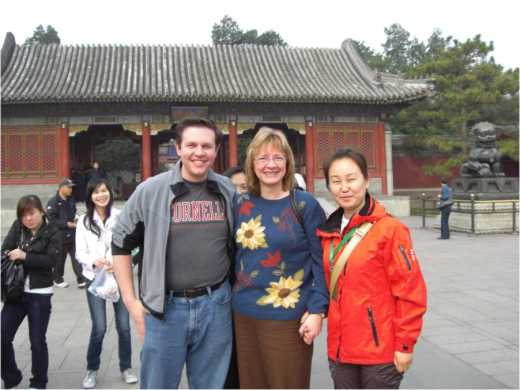 My mom, Samantha (the tour guide), and I before the entrance to the Summer Palace.