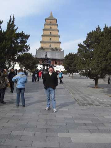 Me standing on the walkway up to Wild Goose Pagoda.